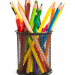 Holder basket full of colorful pencils - Stok fotoğraf