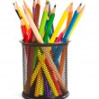 Holder basket full of colorful pencils — Stock Photo