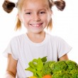 Little girl with the vegetables — Stock Photo