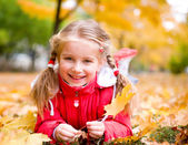 Autumn portrait of a little girl — Stock Photo