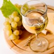 Glass of wine and grape - Stock Photo