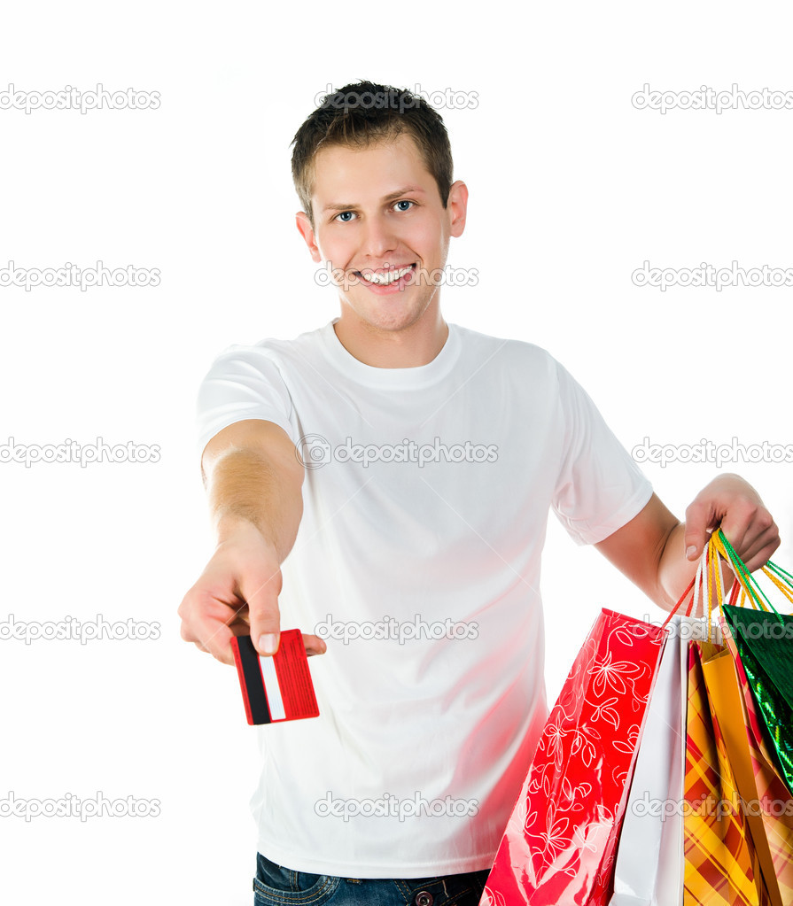 Happy shopping man. Isolated over white background — Stock Photo #7243636