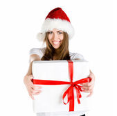 Young women with the gift — Stock Photo