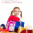 Cute girl wih the gifts - Stockfoto