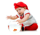 Cute little baby fishing — Stock Photo