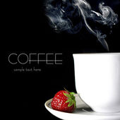 Coffee and strawberry on black — Stock Photo