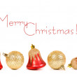 Christmas bell with red ribbon — Stock Photo