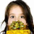 Cute girl with a gift — Stok fotoğraf