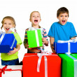 Little kids with a gifts — Foto Stock
