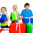 Little kids with a gifts — Stok fotoğraf
