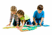 Children are playing letters — Foto Stock