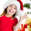 Pretty girl in santa claus hat — Stok fotoğraf