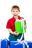 Boy with a gift — Stockfoto