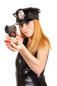 Beautiful sexy police girl with handgun and handcuffs — Stock Photo