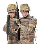 Modern soldier with rifle — Stock Photo