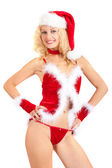 Young sexy Santa woman — Stockfoto