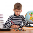 Cute schoolboy is writting — Foto de stock #7379343