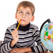 Cute schoolboy is thinking - Stockfoto