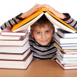 Schoolboy and a heap of books isolated on a white background - Stockfoto