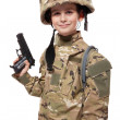 Stock Photo: Young soldier with gun