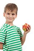 男孩抱着一只苹果 — 图库照片