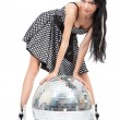 Party dancer with disco ball — Stock Photo
