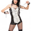 Sexy domina is holding a chain — Stock Photo