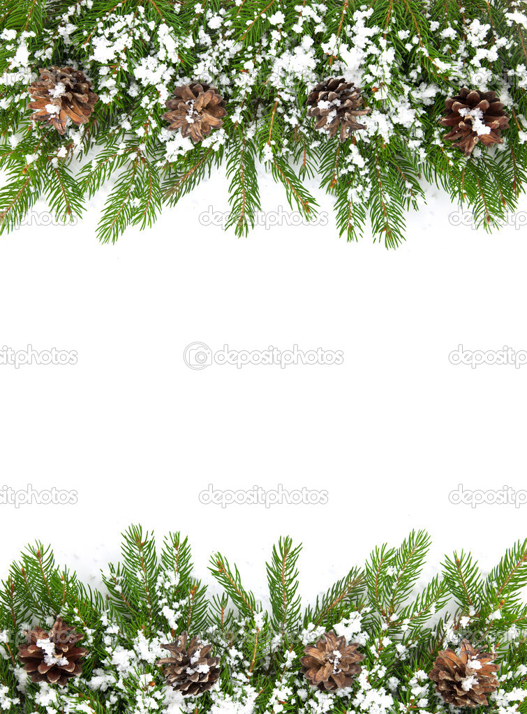 Christmas framework with snow isolated on white background — Stock Photo #7510894