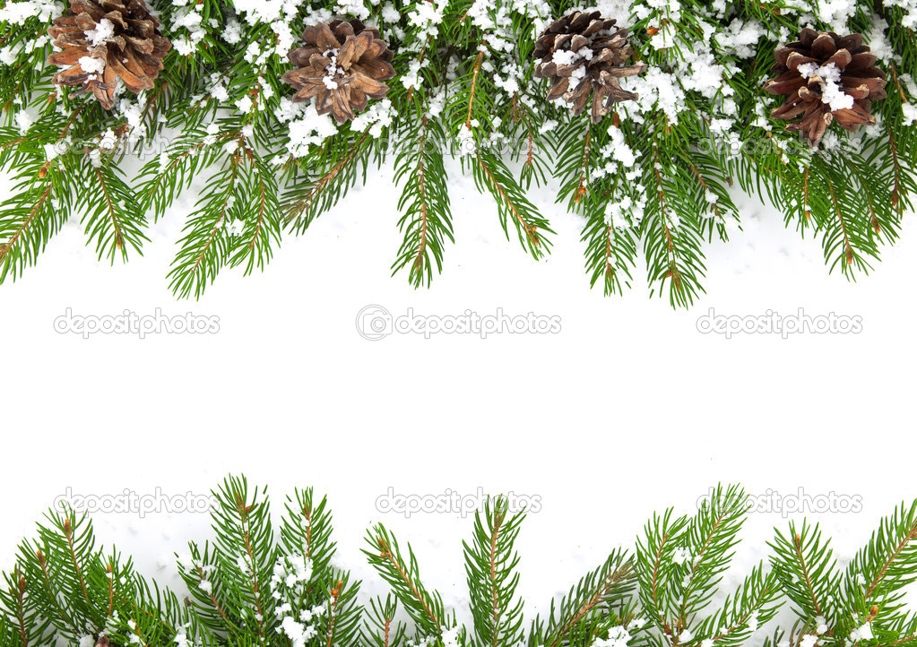 Christmas framework with snow isolated on white background — Stock Photo #7510905