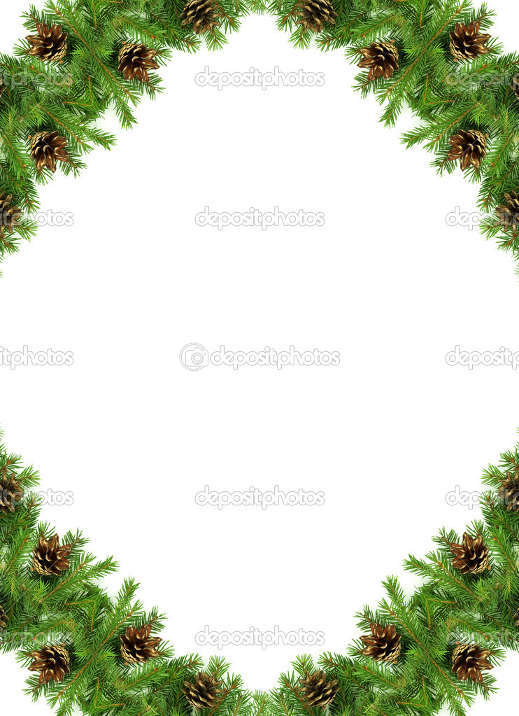 Christmas green  framework isolated on white background — Stock Photo #7535456