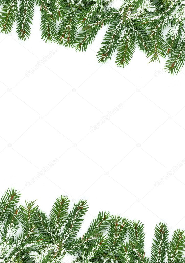 Christmas framework with snow isolated on white background — Stock Photo #7535475