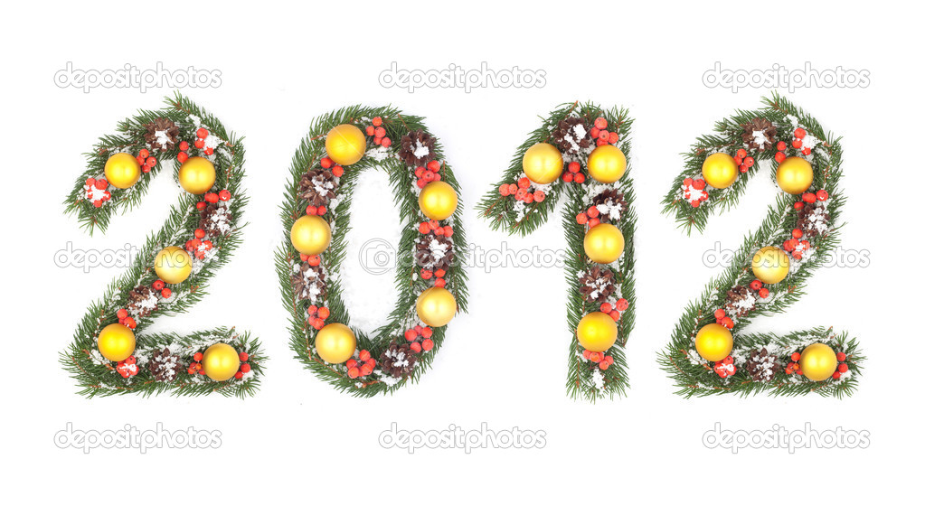 2012 number written by christmas tree branches isolated on a white background — Stock Photo #7541392