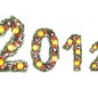 2012 number written by christmas tree branches — Stock Photo #7570163