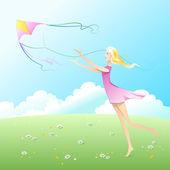 Fly a kite. — Stock Vector