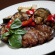 Stock Photo: Steak with grilled vegatables