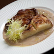 Steak with potato gratin — ストック写真