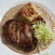 Stock Photo: Steak with potato gratin