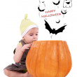 Baby in Large Pumpkin — Stock Photo #7204908