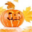 Halloween, old jack-o-lantern on white — Stock Photo #7019150