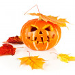Halloween, old jack-o-lantern on white - Stock Photo