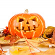 Stock Photo: Halloween, old jack-o-lantern on white