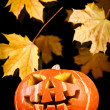Halloween, old jack-o-lantern on black — Stock Photo