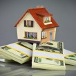 House on packs of banknotes - Stockfoto
