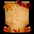 Halloween. Old paper with autumn leaves and pumpkin. — Stock Photo