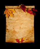 Old paper with autumn leaves, autumn note — Stock Photo