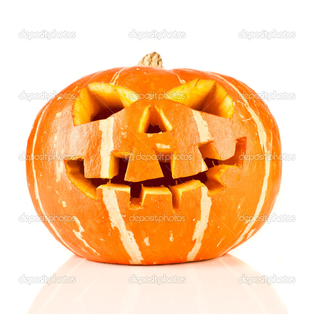 Scary old jack-o-lantern on white background isolated. — Stock Photo #7019145
