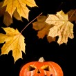 Halloween, old jack-o-lantern on black — Stock Photo #7133349