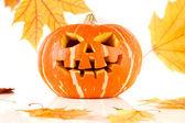 Halloween, old jack-o-lantern on white — Stock Photo