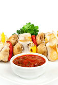 Fried pieces of a hen with sauce — Stock Photo