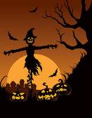 Scarecrow in Halloween night — Stock Vector